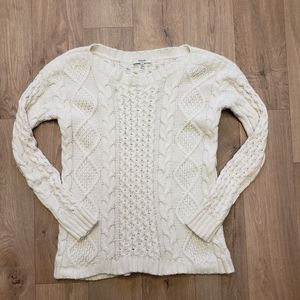 Madewell Cream Cable Knit Sweater Size Small
